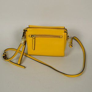 VINCE CAMUTO Yellow Pebbled Leather Crossbody Bag